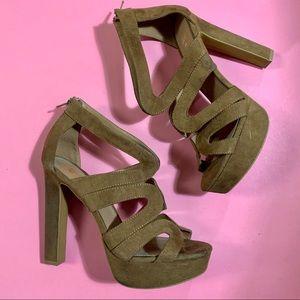 H&M Faux Suede Block Heels Sandals